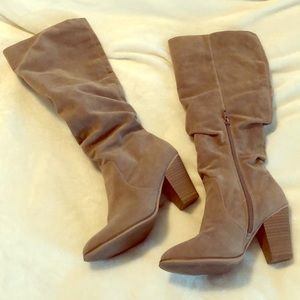 Tan slouchy knee high boots